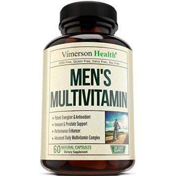 Men's Daily Multivitamin/Multimineral Supplement - Vitamins A C E D B1 B2 B3 B5 B6 B12. Magnesium, Biotin, Spirulina, Zinc. Antioxidant For Heart & Immune Health. 60 Daily Gluten Free Multivitamins.