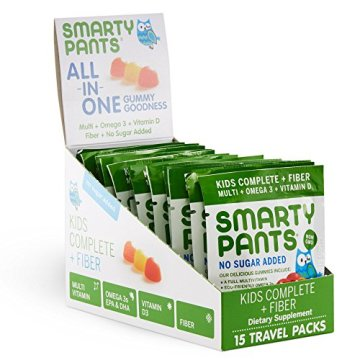 SmartyPants Kids Complete and Fiber Gummy Vitamins: Multivitamin, Inulin Prebiotic Fiber & Omega 3 DHA/EPA Fish Oil, Folate (Methylfolate), Methyl B12, Vitamin D3, 15 count (15 Day Supply)
