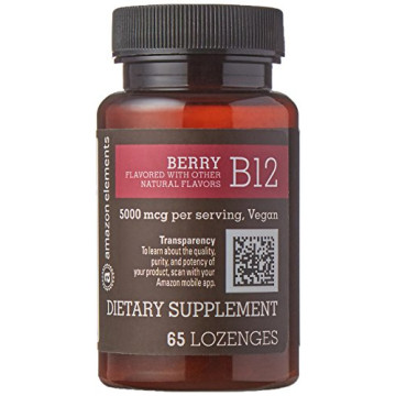 Amazon Brand - Amazon Elements Vitamin B12 Methylcobalamin 5000mcg, 65 Berry Flavored Lozenges, 2 month supply