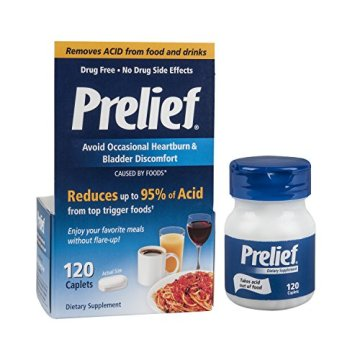 Prelief Acid Reducer Caplets, 120 Count, Dietary Supplement to reduce Bladder Discomfort or Digestive Discomfort Caused by High-Acid Foods