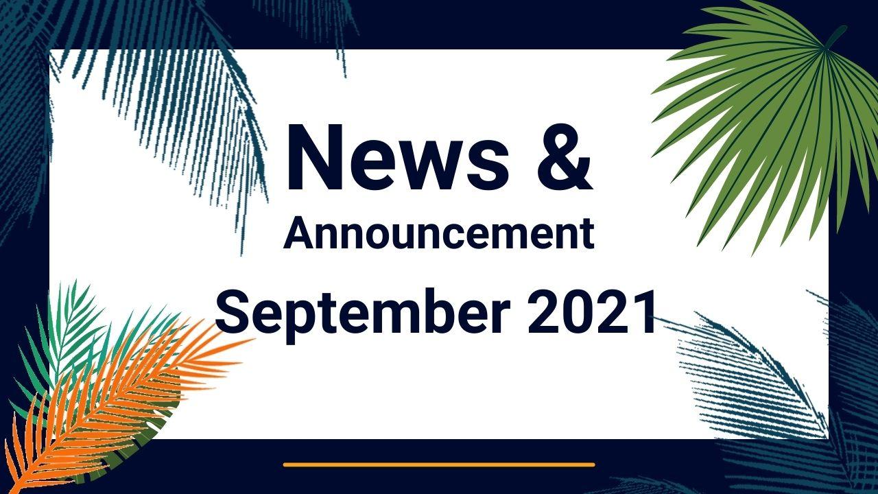 banner of September 2021 News & Announcements