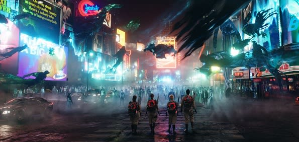 Ghostbusters Times Square set