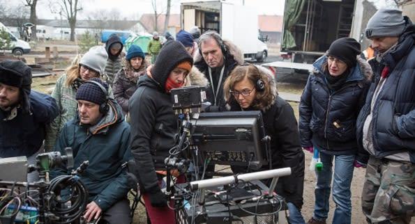 Agnus Dei crew on set