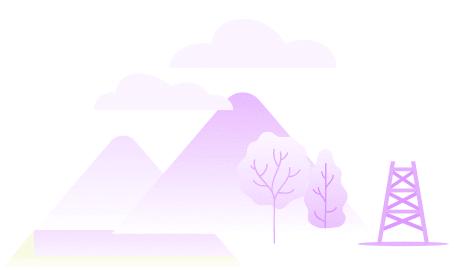 Ilustração de uma paisagem roxa