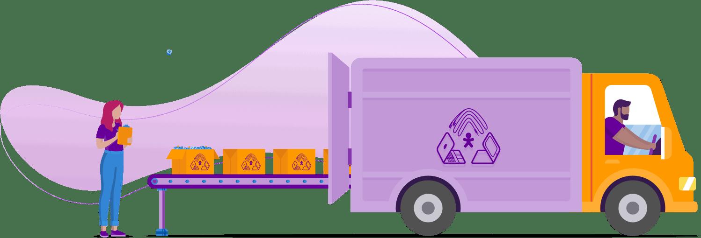 Ilustração de um caminhão de reciclagem