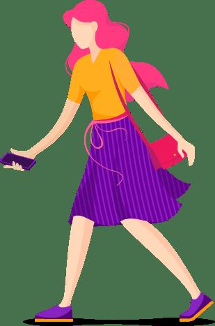 Ilustração de uma mulher descartando um celular