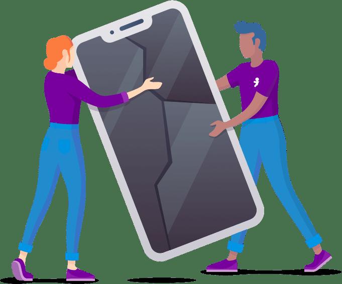 Ilustração de um homem e mulher apoiando um celular