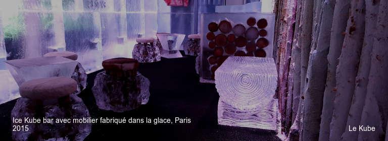 Ice Kube bar avec mobilier fabriqué dans la glace, Paris 2015 Le Kube