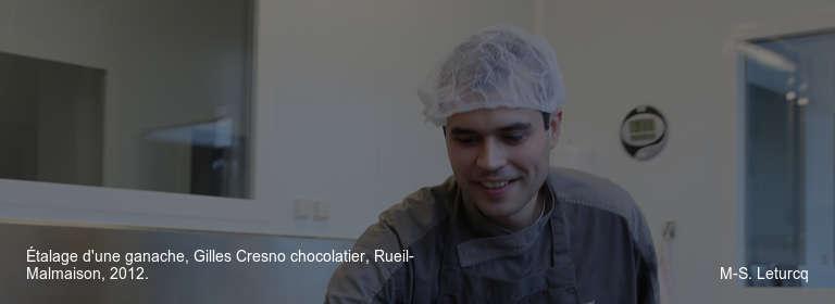 Étalage d'une ganache, Gilles Cresno chocolatier, Rueil-Malmaison, 2012. M-S. Leturcq