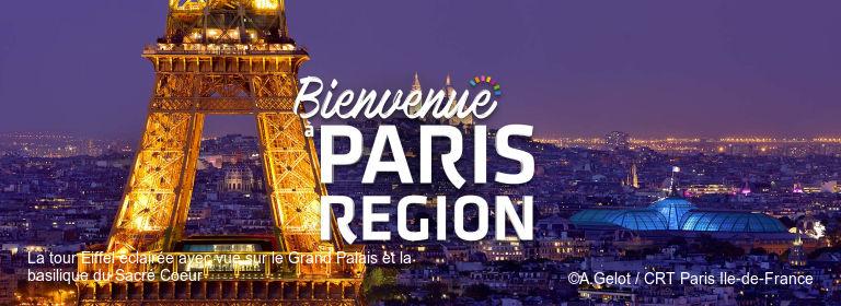 La tour Eiffel éclairée avec vue sur le Grand Palais et la basilique du Sacré Coeur ©A.Gelot / CRT Paris Ile-de-France