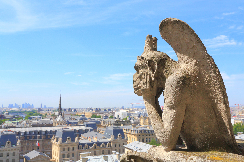 Vue sur Paris depuis les Tours de la cathédrale Notre-Dame de Paris%252C gros plan sur une gargouille%252C 2017. Maisant - Hemis - CRT Paris Ile-de-France
