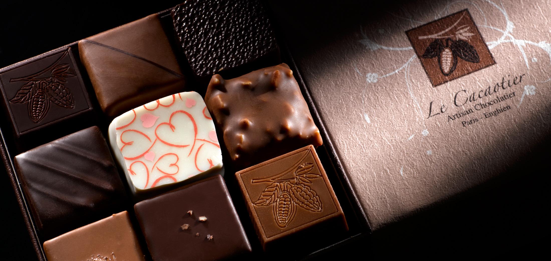 Chocolats fourrés du chocolatier Hubert Masse le-Cacaotier