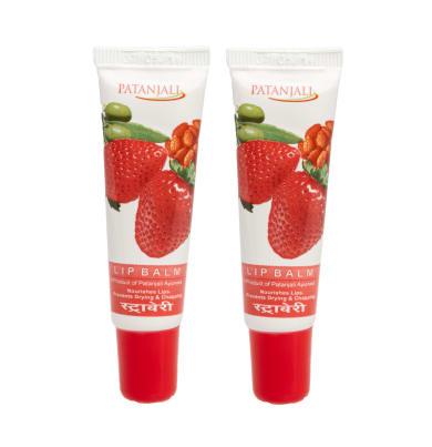 Patanjali Ayurveda Lip Balm Strawberry Pack of 2