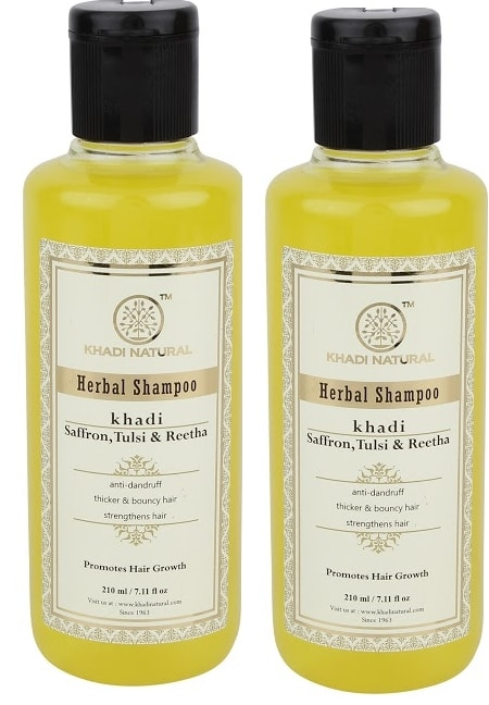 Khadi Naturals Saffron, Tulsi, Reetha Herbal  Shampoo Pack of 2