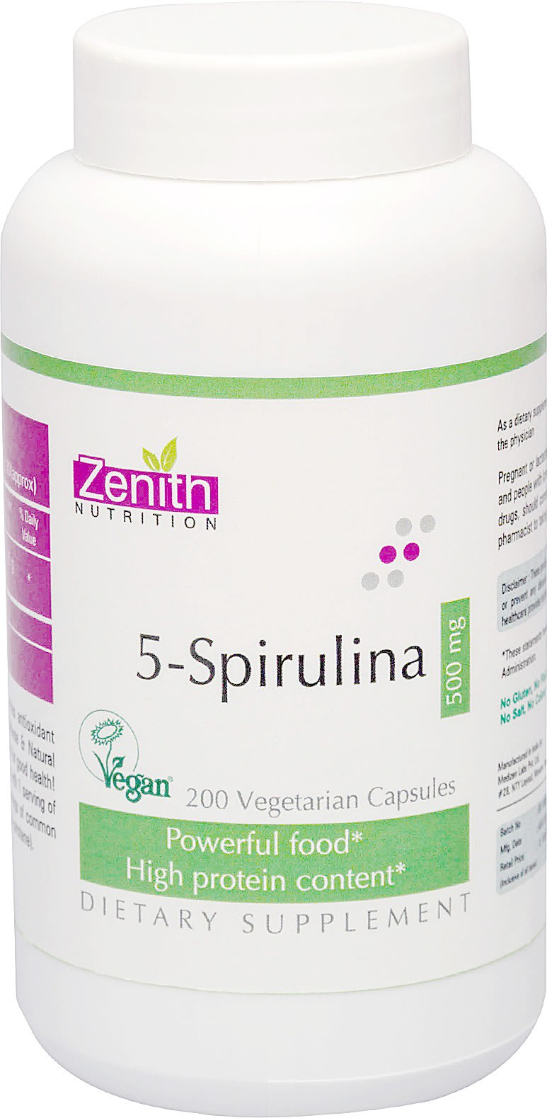 Zenith Nutrition  5-Spirulina 500mg Capsule