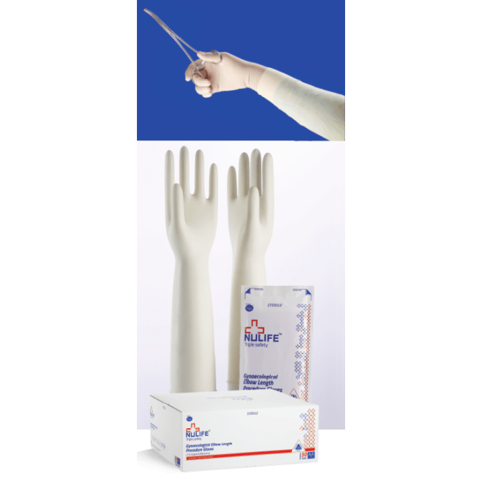 Nulife Gynaecological Elbow Length Surgical Gloves Sterile Powdered S