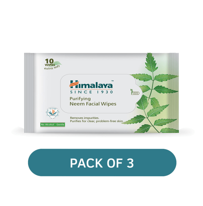 Himalaya Personal Care Purifying Neem Facial Wipes Pack of 3