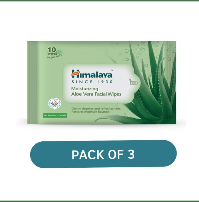 Himalaya Personal Care Moisturizing Aloe Vera Facial Wipes Pack of 3