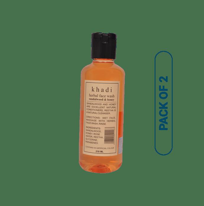 Khadi Naturals Herbal Sandalwood & Honey Face Wash Pack of 2
