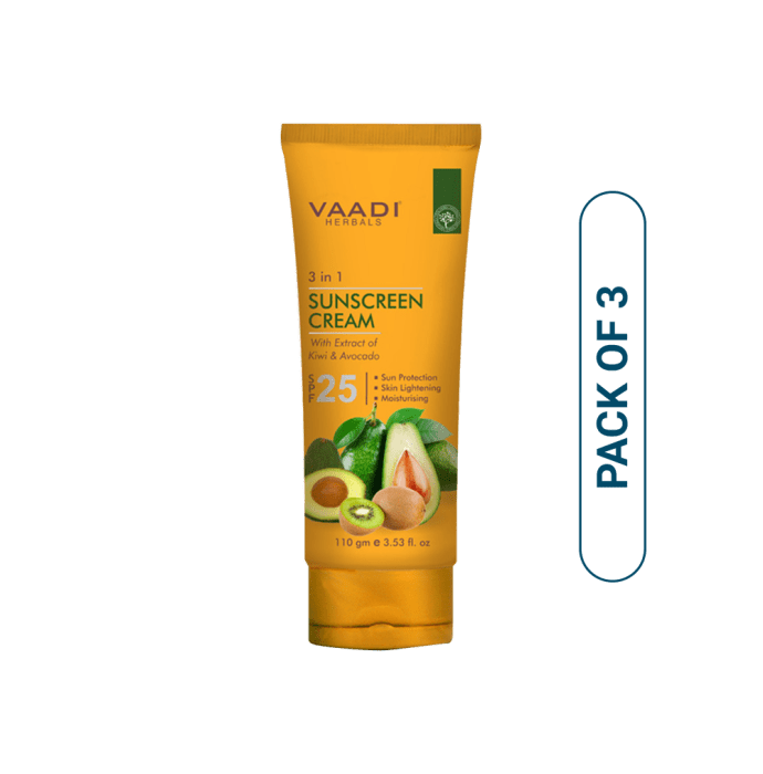 Vaadi Herbals Value Pack of Sunscreen Cream SPF-25 with Extracts of Kiwi & Avocado Pack of 3