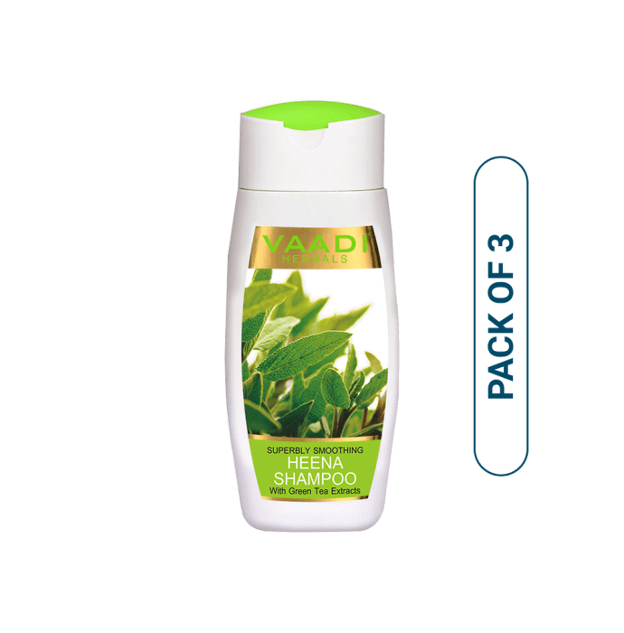 Vaadi Herbals Value Pack of Superbly Smoothing Heena Shampoo With Green Tea Extracts Pack of 3
