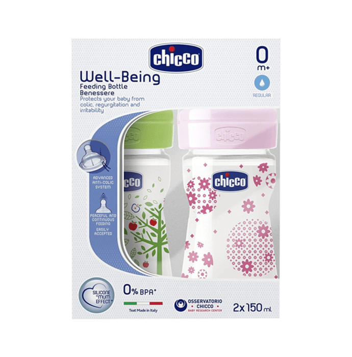 Chicco Bipack WellBeing Feeding Bottle Pink and Green Pack of 2