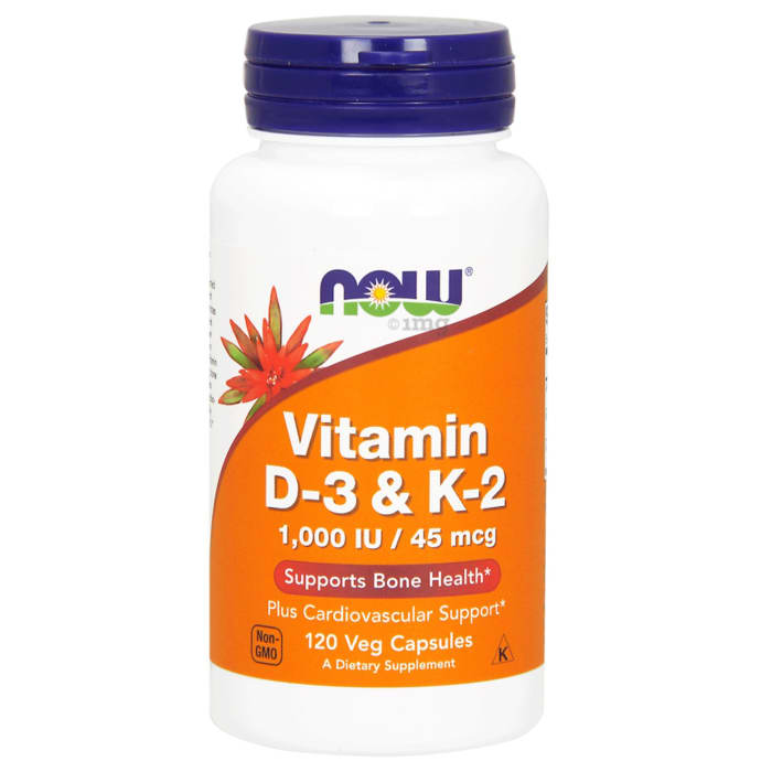 NOW Foods Vitamin D-3 & K-2 Veg Capsule