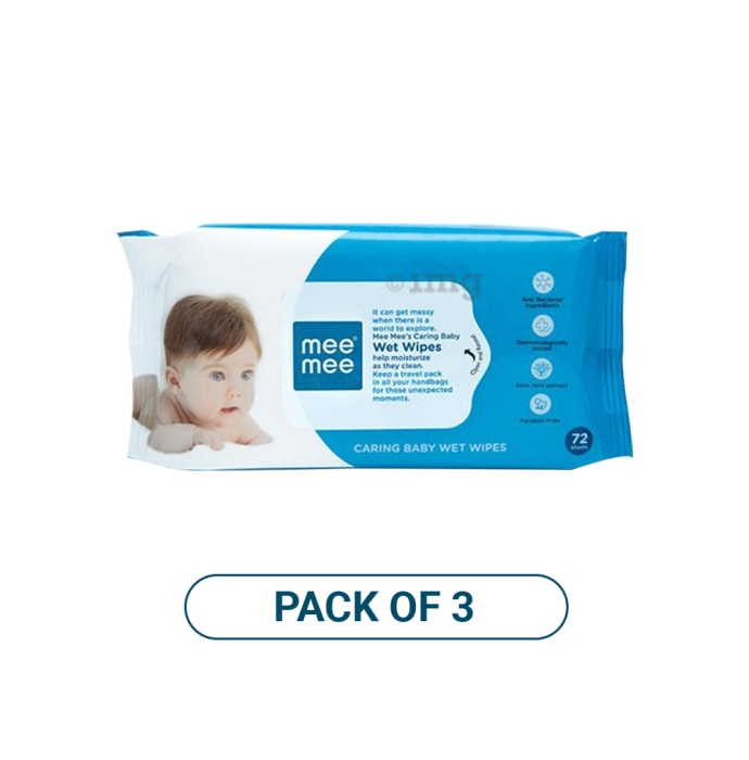 Mee Mee Caring Baby Wet Wipes with Aloe Vera Pack of 3