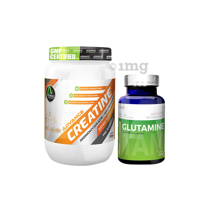 Advance Nutratech Combo Pack of Creatine Monohydrate Unflavored 300gm and Glutamine Supplement Powder Unflavored 100gm
