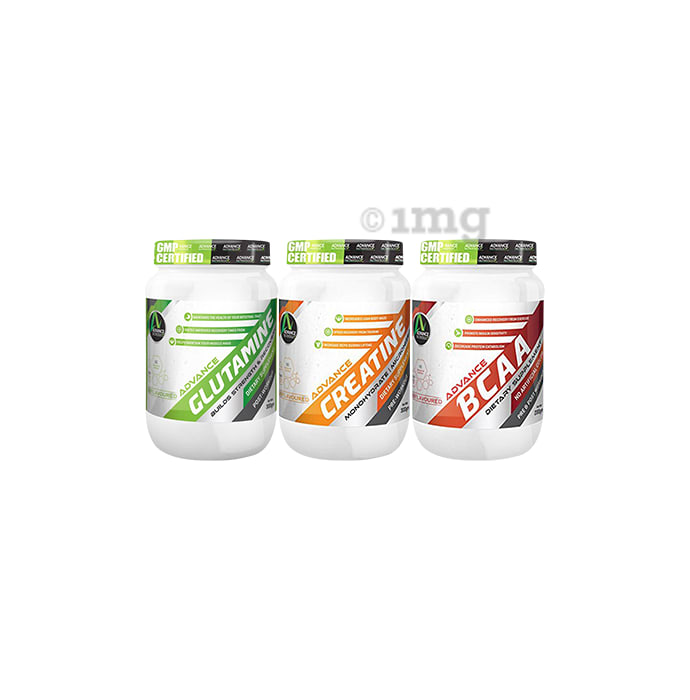 Advance Nutratech Creatine Unflavoured 300gm,Glutamine Unflavored 300gm and BCAA Unflavored 200gm