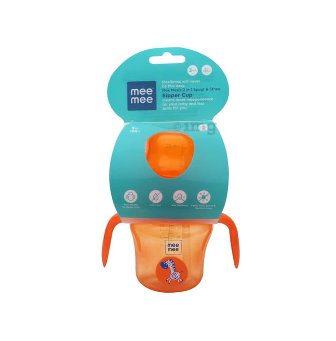Mee Mee 2 IN 1 Spout and Straw Sipper Cup Orange