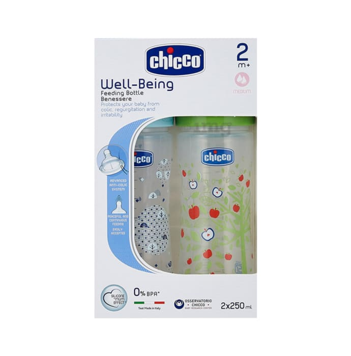 Chicco Bipack WellBeing Feeding Bottle Blue and Green Pack of 2