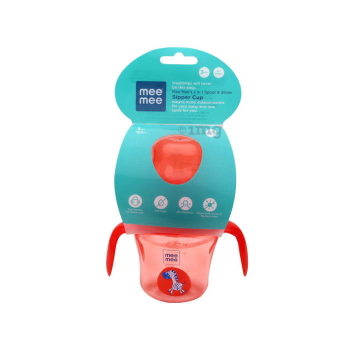Mee Mee 2 IN 1 Spout and Straw Sipper Cup Red
