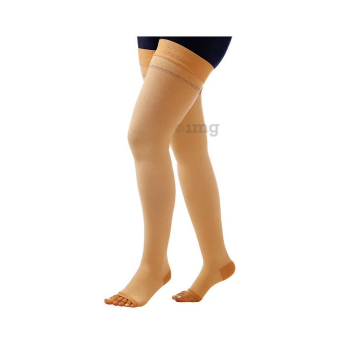 Comprezon Cotton Varicose Vein Stockings Class 2 Above Knee XL Beige