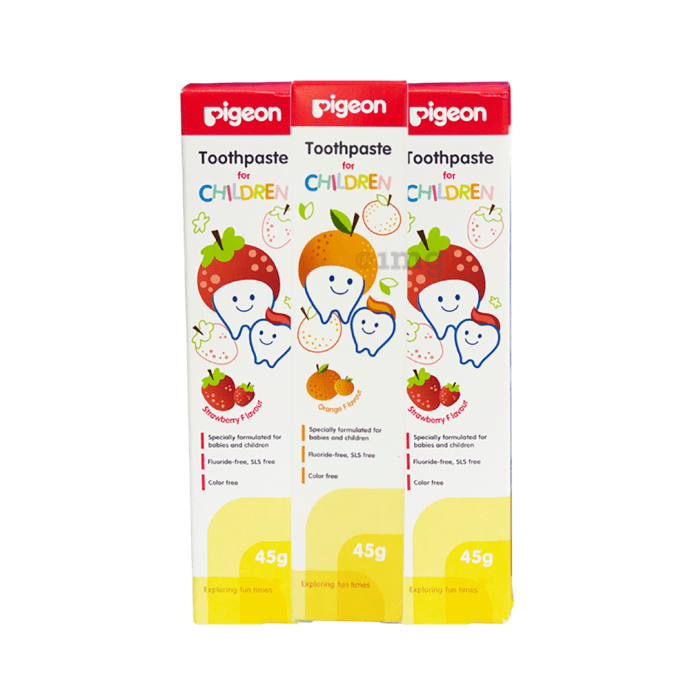 Pigeon Combo Pack of Children Toothpaste 2 Strawberry & 1 Orange (45gm Each)