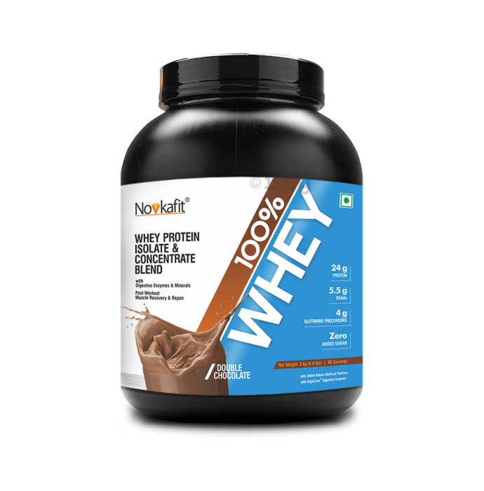 Novkafit 100% Whey Protein with Digestive Enzymes Double  Chocolate