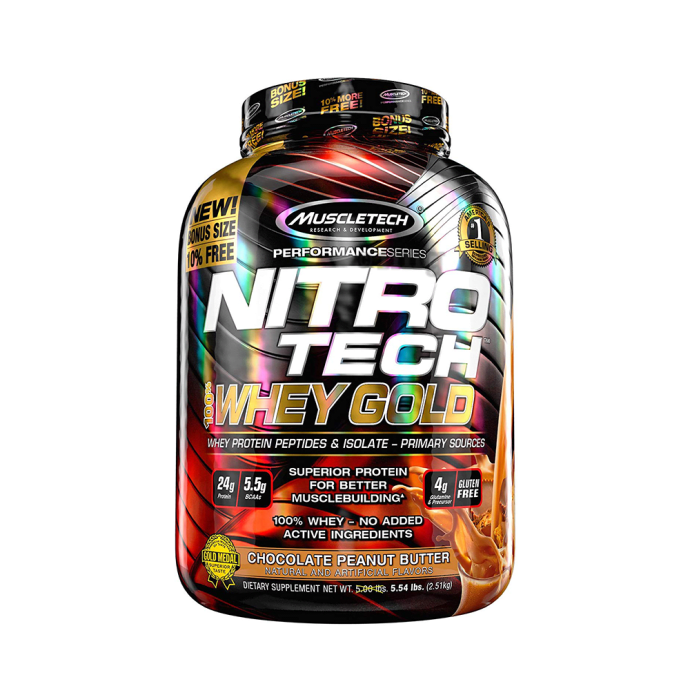 Muscletech Performance Series Nitro Tech 100% Whey Gold Whey Protein Peptides & Isolate Powder Chocolate Peanut Butter