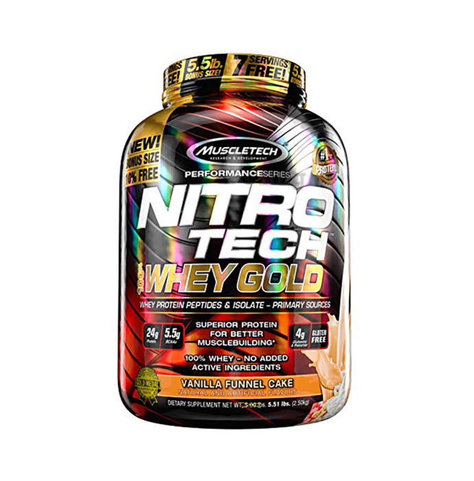 Muscletech Performance Series Nitro Tech 100% Whey Gold Whey Protein Peptides & Isolate Powder Vanilla Cake