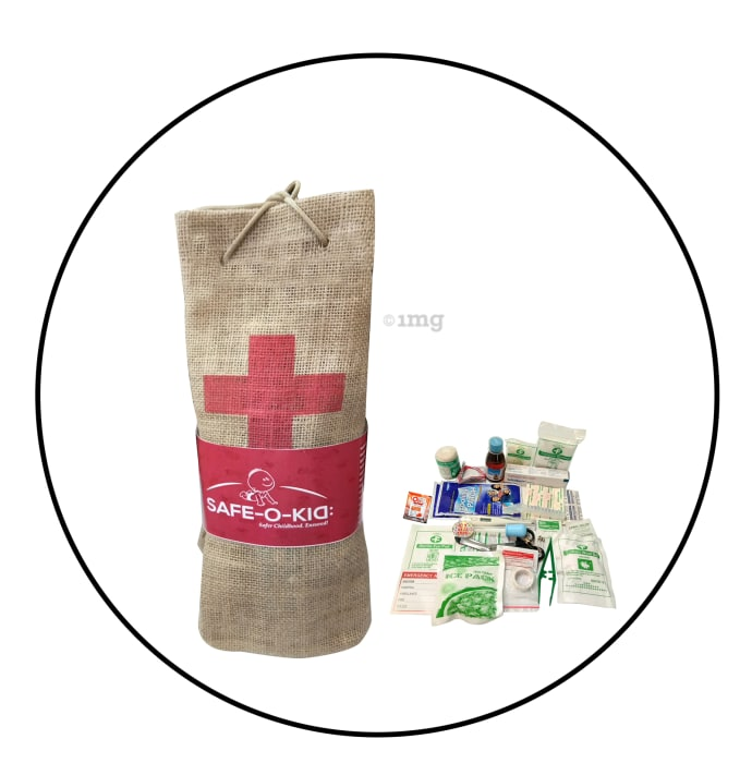 Safe-O-Kid First Aid Kit with Jute Bag
