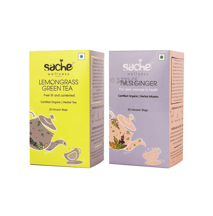 Sache Wellness Combo Pack of Organic Lemongrass Green Tea 25 Infusion Bags & Tulsi Ginger 25 Infusion Bags