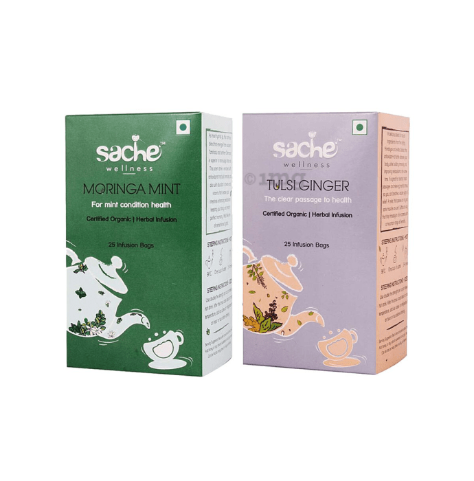 Sache Wellness Combo Pack of Organic Moringa Mint 25 Infusion Bags & Tulsi Ginger 25 Infusion Bags