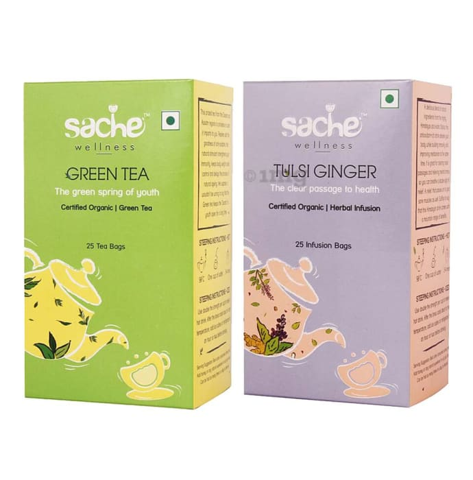 Sache Wellness Combo Pack of Organic Green Tea 25 Tea Bags & Tulsi Ginger 25 Infusion Bags