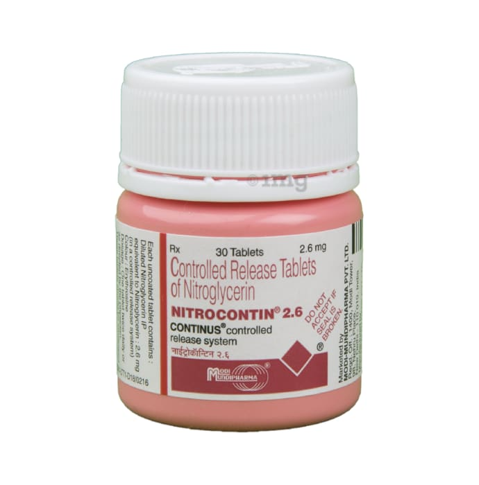 Nitrocontin 2.6 Tablet CR: View Uses, Side Effects, Price and Substitutes |  1mg