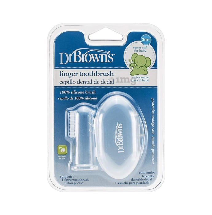 Dr. Brown's Silicone Finger Toothbrush with Case 3M+