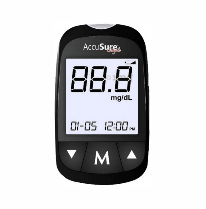 AccuSure Simple Blood Glucose Meter with 25 Test Strips