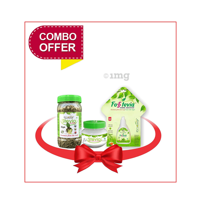Zindagi Combo Pack of Stevia Dry Leaves (35gm), Stevia Powder (50gm) & Stevia Liquid (10ml)