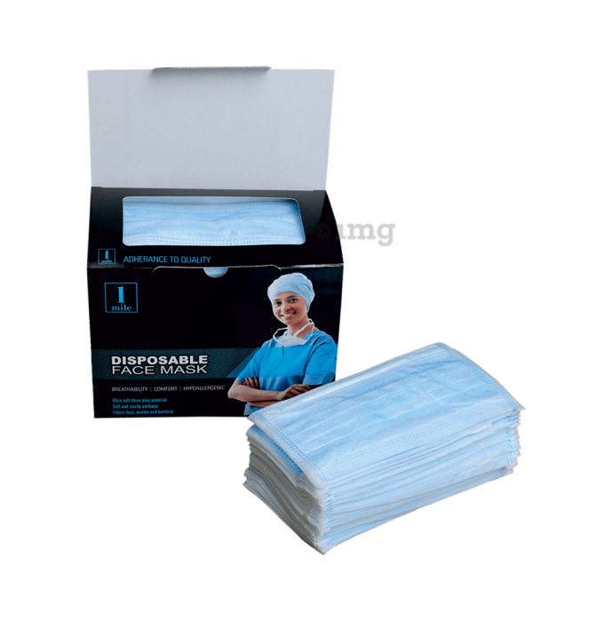 1Mile Disposable 3 Ply Face Mask Green