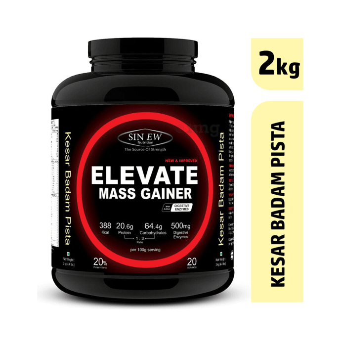 Sinew Nutrition Elevate Mass Gainer with DigiEnzymes Kesar Pista Badam