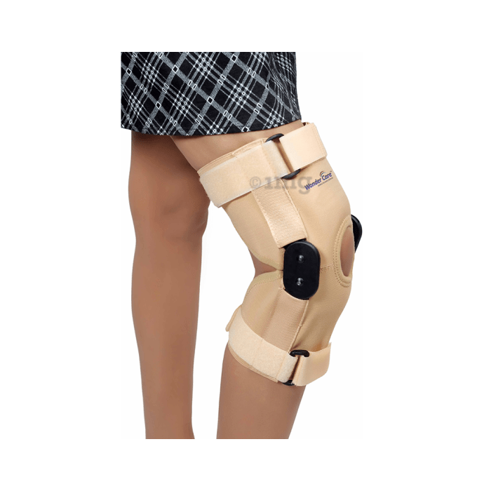 Wonder Care K101, 12 inch Elastic Knee Support Brace with Hinge Open Patella S