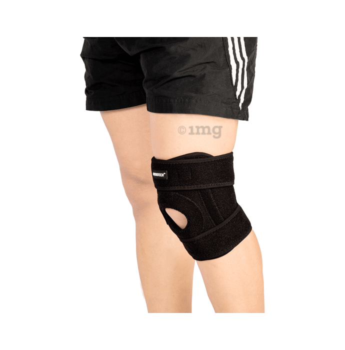 Orthotech OR-2446 Open Patella Knee Support With Stays Free Size Black